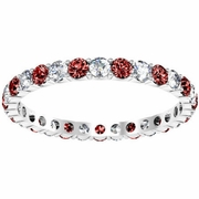 January Birthstone Eternity Band with Round Diamonds and Garnets
