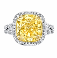 'Josephine' Split Shank Halo Engagement Ring for Fancy Yellow Diamond