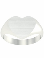 Large Heart Shape White Gold Signet Rings
