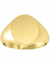 Large Oval Center Gold Signet Rings