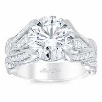 Leafy Pave Diamond Engagement Ring