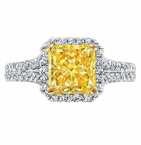 'Madeleine' Canary Diamond Baby Split Halo Engagement Ring