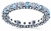March Birth Stone Eternity Ring with Diamonds and Aquamarines