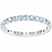 March Birthstone Eternity Band with Round Diamonds and Aquamarines