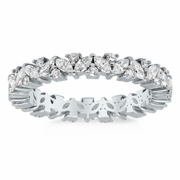 Marquise and Round Diamond Laurel Eternity Ring - click to enlarge