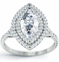 Marquise Baby Split Double Halo Engagement Ring
