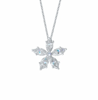 Marquise Diamond Flower Pendant Necklace