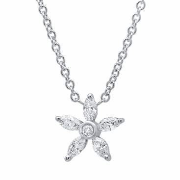 Marquise Diamond Flower Pendant Necklace - click to enlarge