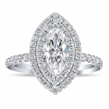 Marquise Double Halo Engagement Ring - click to enlarge