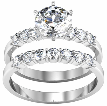 Matching Diamond Wedding Set 14kt Gold 1.00cttw Prong Set - click to enlarge