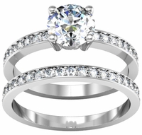 Matching Diamond Wedding Set with 1.30cttw Round Diamonds
