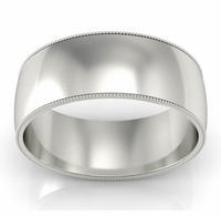 Men's Milgrained Plain Wedding Band (8 mm)