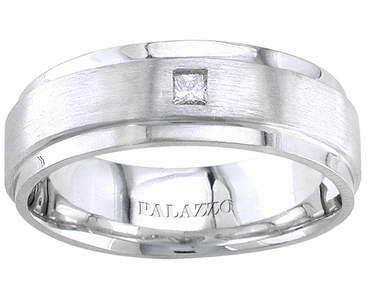 Men's Palladium Wedding Ring Princess Cut Diamond - click to enlarge
