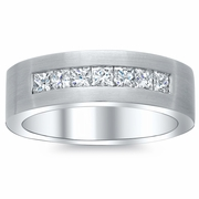 Men's Princess Diamond Ring with Brushed Finish