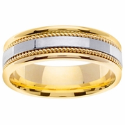 Mens 18k Gold Ring with Platinum Center