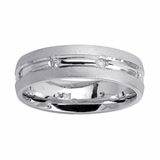 Mens Diamond Wedding Ring Grooved
