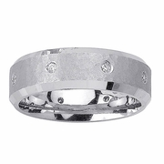 Mens Diamond Wedding Ring Hammered