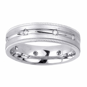 Mens Diamond Wedding Ring in 6mm 0.16cttw
