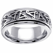 Mens Gold Wedding Ring with Celtic Spiral Triskelion Design