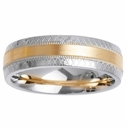 Mens or Womens Two Tone Gold Wedding Ring with Comfort Fit in 6mm