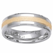 Mens or Womens Wedding Ring Two Tone Comfort Fit in 6mm 14kt Gold