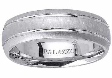 Mens Palladium Ring Grooves Dual Finish - click to enlarge