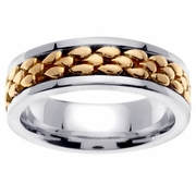 Mens Platinum Ring with 18kt Center in 7 mm Comfort Fit