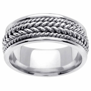 Mens Platinum Wedding Ring 8mm Comfort Fit Handmade