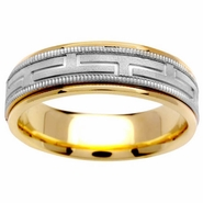 Mens Two Tone Ring with Comfort Fit in 6.5mm 14kt Gold