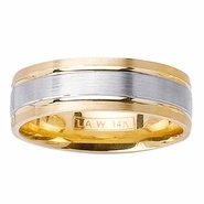 Mens Two Tone Ring with Comfort Fit in 7mm 14kt Gold