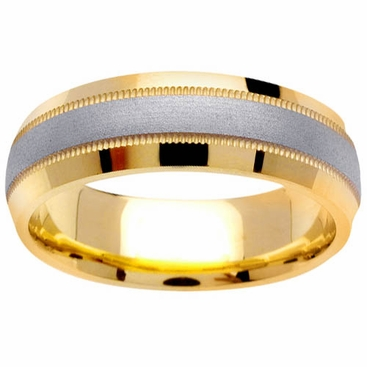 Mens Two Tone Wedding Band with Comfort Fit in 6.5mm 14kt Gold - click to enlarge