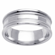 Mens Wedding Ring in 7.5mm 14kt White or Yellow Gold, Sizes 4-16 In Stock