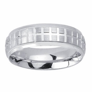 Mens Wedding Ring with Fancy Design in 7mm 14kt Gold