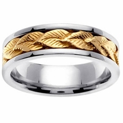 Mens Wedding Ring with Gold Leaf Design