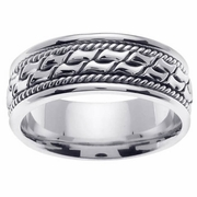 Mens White Gold Ring with Handmade Design in 8mm