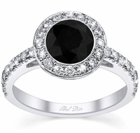 Micro Pave Halo Engagement Ring with Black Diamond