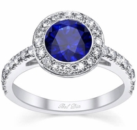 Micro Pave Halo Engagement Ring with Blue Sapphire
