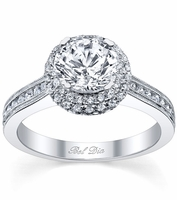 Micro Pave Halo Engagement Ring with Diamond Accents and Milgrain