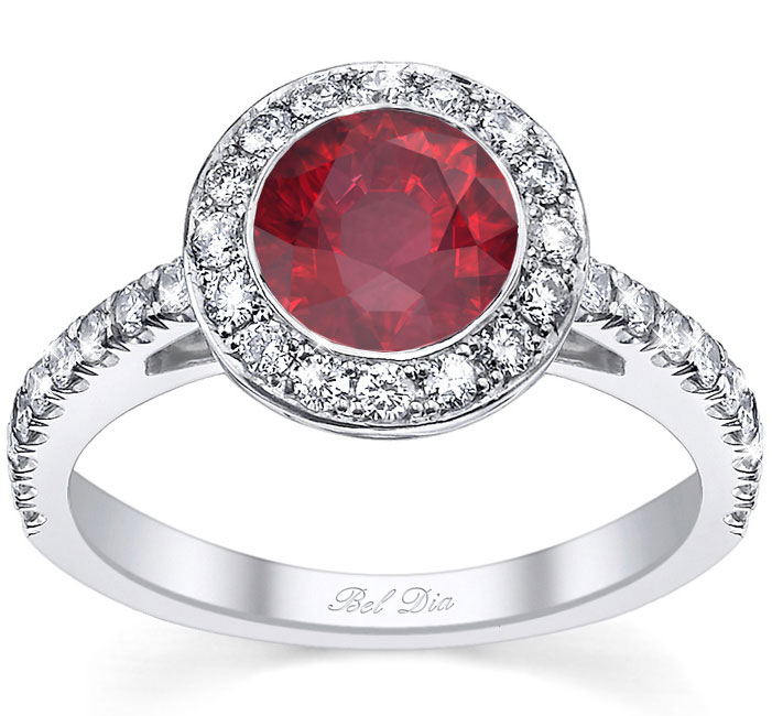 Micro Pave Halo Engagement Ring With Ruby