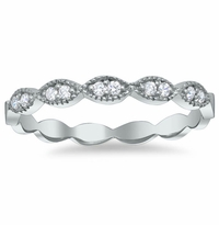 Milgrained Marquise Scalloped Pave Diamond Wedding Ring