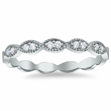 Milgrained Marquise Scalloped Pave Diamond Wedding Ring - click to enlarge