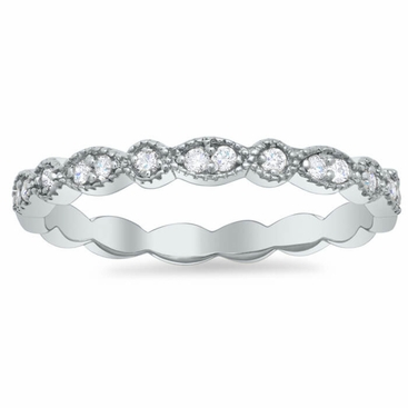 Milgrained Round and Marquise Scalloped Wedding Ring with Round Diamonds - click to enlarge