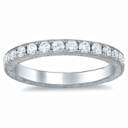 Milgrained Wedding Band with Hand Engraving