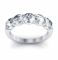 Moissanite 5 Stone Stacking Ring 5mm Forever One Round