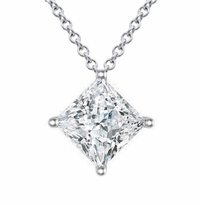 Moissanite Floating Princess Cut Solitaire Kite Set Pendant Necklace