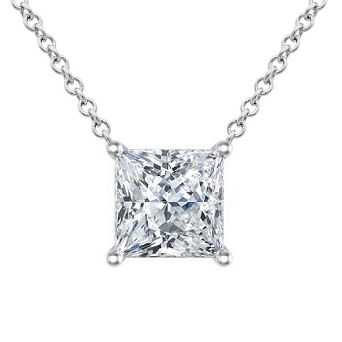 Moissanite Floating Princess Cut Solitaire Pendant Necklace