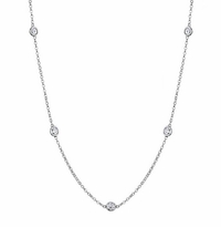 Moissianite Station Necklace with 4mm Forever One