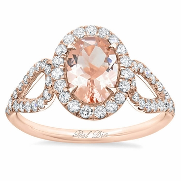 Morganite Looped Shank Oval Halo Engagement Ring - click to enlarge