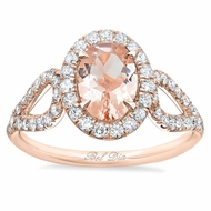 Morganite Looped Shank Oval Halo Engagement Ring