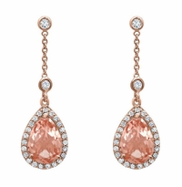 Morganite Pear Drop Earrings